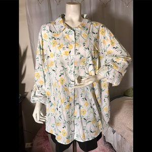 Karen Scott yellow flower print blouse